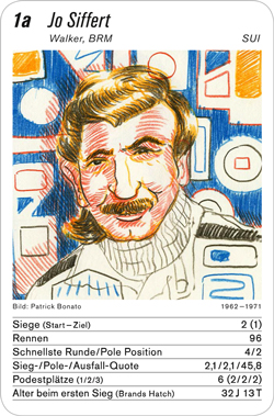 Formel 1, Volume 1, Karte 1a, SUI, Jo Siffert, Illustration: Patrick Bonato.