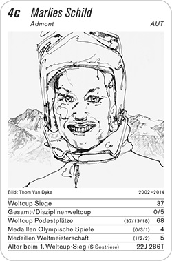 Ski Alpin, Volume 1, Karte 4c, AUT, Marlies Schild, Illustration: Tom Van Dyke.