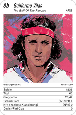 Tennis, Volume 1, Karte 8b, BRA/ARG, Guillermo Vilas, Illustration: Evgeniya Hitz.