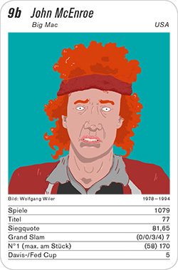 Tennis, Volume 1, Karte 9b, USA, John McEnroe, Illustration: Wolfgang Wiler.